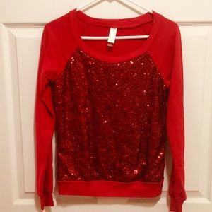 Red Sequined Top size Small